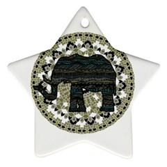 Ornate Mandala Elephant  Ornament (star) by Valentinaart