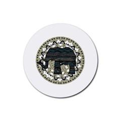Ornate Mandala Elephant  Rubber Coaster (round)  by Valentinaart