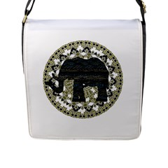 Ornate Mandala Elephant  Flap Messenger Bag (l)  by Valentinaart