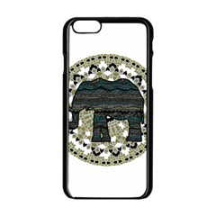 Ornate Mandala Elephant  Apple Iphone 6/6s Black Enamel Case by Valentinaart