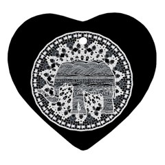 Ornate Mandala Elephant  Heart Ornament (two Sides) by Valentinaart