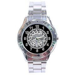 Ornate Mandala Elephant  Stainless Steel Analogue Watch by Valentinaart
