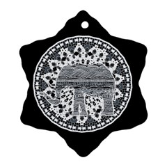 Ornate Mandala Elephant  Snowflake Ornament (two Sides) by Valentinaart
