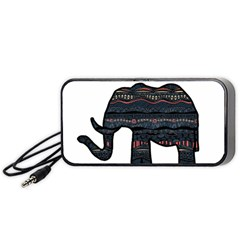 Ornate Mandala Elephant  Portable Speaker (black) by Valentinaart