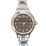 Stripy Knitted Wool Fabric Texture Round Italian Charm Watch