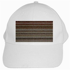 Stripy Knitted Wool Fabric Texture White Cap by BangZart