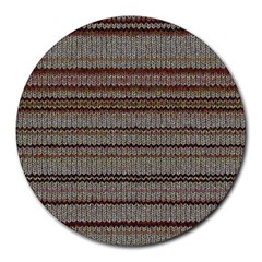 Stripy Knitted Wool Fabric Texture Round Mousepads by BangZart