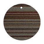 Stripy Knitted Wool Fabric Texture Ornament (Round)