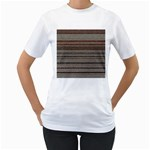 Stripy Knitted Wool Fabric Texture Women s T-Shirt (White) (Two Sided)