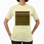 Stripy Knitted Wool Fabric Texture Women s Yellow T-Shirt