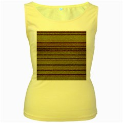 Stripy Knitted Wool Fabric Texture Women s Yellow Tank Top