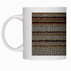 Stripy Knitted Wool Fabric Texture White Mugs by BangZart