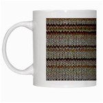 Stripy Knitted Wool Fabric Texture White Mugs