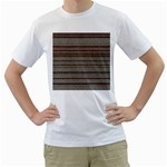 Stripy Knitted Wool Fabric Texture Men s T-Shirt (White) (Two Sided)