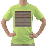 Stripy Knitted Wool Fabric Texture Green T-Shirt