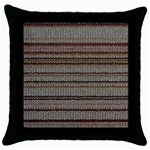 Stripy Knitted Wool Fabric Texture Throw Pillow Case (Black)