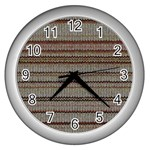 Stripy Knitted Wool Fabric Texture Wall Clocks (Silver)