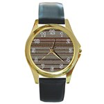 Stripy Knitted Wool Fabric Texture Round Gold Metal Watch