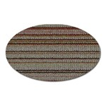 Stripy Knitted Wool Fabric Texture Oval Magnet