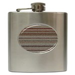 Stripy Knitted Wool Fabric Texture Hip Flask (6 oz)
