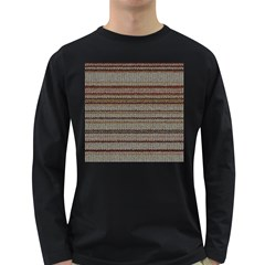 Stripy Knitted Wool Fabric Texture Long Sleeve Dark T Shirts by BangZart