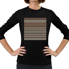 Stripy Knitted Wool Fabric Texture Women s Long Sleeve Dark T Shirts