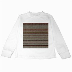 Stripy Knitted Wool Fabric Texture Kids Long Sleeve T Shirts by BangZart