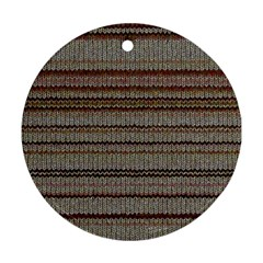 Stripy Knitted Wool Fabric Texture Round Ornament (two Sides)