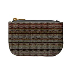 Stripy Knitted Wool Fabric Texture Mini Coin Purses