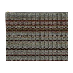 Stripy Knitted Wool Fabric Texture Cosmetic Bag (xl)