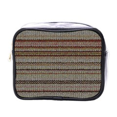 Stripy Knitted Wool Fabric Texture Mini Toiletries Bags by BangZart