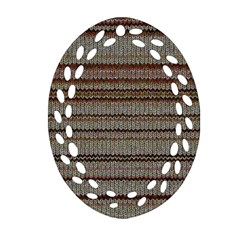 Stripy Knitted Wool Fabric Texture Oval Filigree Ornament (two Sides) by BangZart