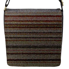 Stripy Knitted Wool Fabric Texture Flap Messenger Bag (s)