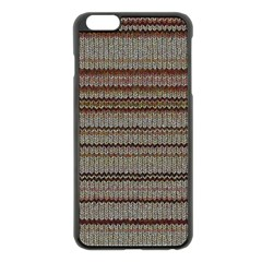 Stripy Knitted Wool Fabric Texture Apple Iphone 6 Plus/6s Plus Black Enamel Case