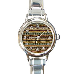 Aztec Pattern Round Italian Charm Watch by BangZart