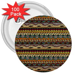 Aztec Pattern 3  Buttons (100 Pack)