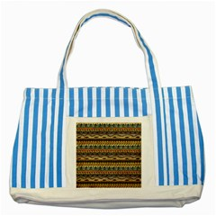 Aztec Pattern Striped Blue Tote Bag by BangZart
