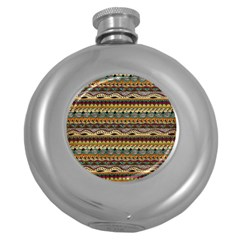 Aztec Pattern Round Hip Flask (5 Oz)