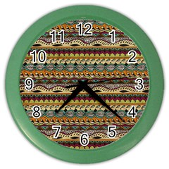 Aztec Pattern Color Wall Clocks by BangZart