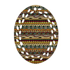 Aztec Pattern Oval Filigree Ornament (two Sides) by BangZart