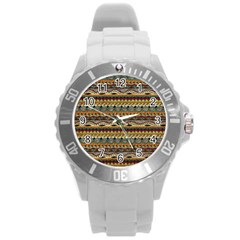 Aztec Pattern Round Plastic Sport Watch (l) by BangZart