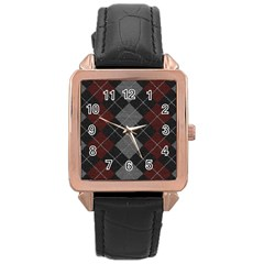 Wool Texture With Great Pattern Rose Gold Leather Watch