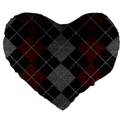 Wool Texture With Great Pattern Large 19  Premium Flano Heart Shape Cushions by BangZart
