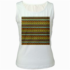 Bohemian Fabric Pattern Women s White Tank Top