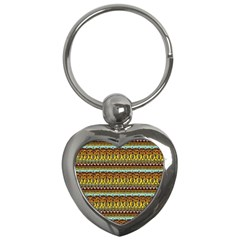 Bohemian Fabric Pattern Key Chains (heart)  by BangZart