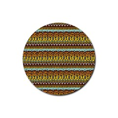 Bohemian Fabric Pattern Rubber Coaster (round)  by BangZart