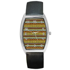 Bohemian Fabric Pattern Barrel Style Metal Watch