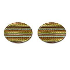 Bohemian Fabric Pattern Cufflinks (oval) by BangZart