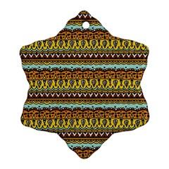 Bohemian Fabric Pattern Snowflake Ornament (two Sides) by BangZart