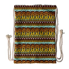 Bohemian Fabric Pattern Drawstring Bag (large)